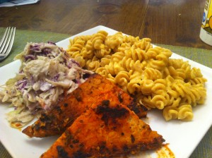 Robin's Healthy Mac N' Cheese (upper right side of photo) shown with Buffalo Tempeh and Cool Slaw from the Cookbook, Appetite for Reduction by Isa Chandra Moskowitz